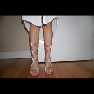 Shoes - Pink fluffy high heels with laces